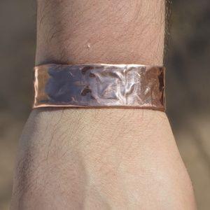 Mens Copper Embossed Cuff Bracelet Rustic Mans Man